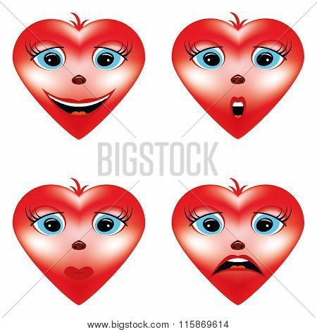 Valentine Hearts With Emotions Icons