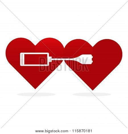 Flat Design  Two Red Hearts Wth Battery Charger.  Love Power Concept.