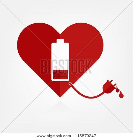 Flat Design Red Hearts With Low Battery Charger Sign And Power Line With Bloods. Valentine Love Powe