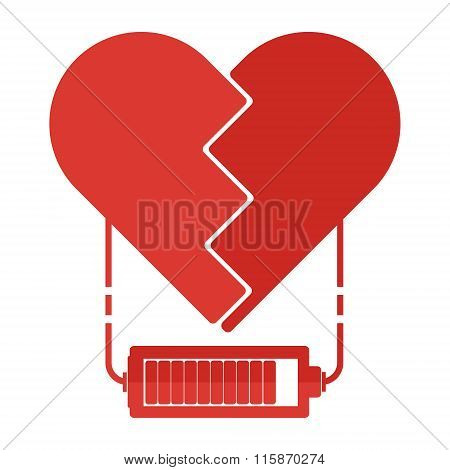 Flat Design Red Broken Hearts With Battery Charger Sign And Power Line. Valentine Love Power Concept