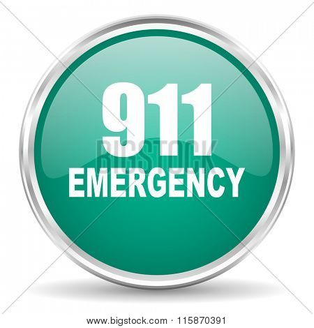 number emergency 911 blue glossy circle web icon