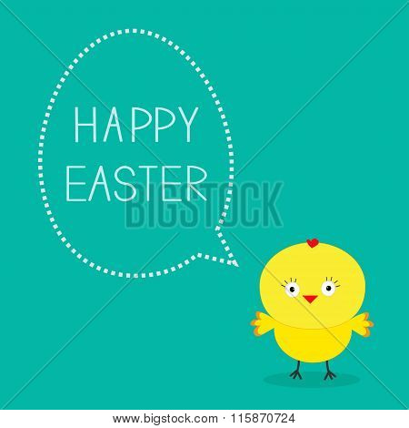 Easter Chicken And Dash Bubble. Card.