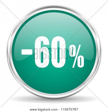 60 percent sale retail blue glossy circle web icon