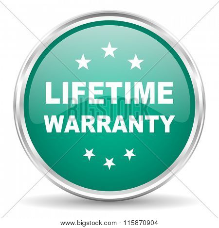 lifetime warranty blue glossy circle web icon