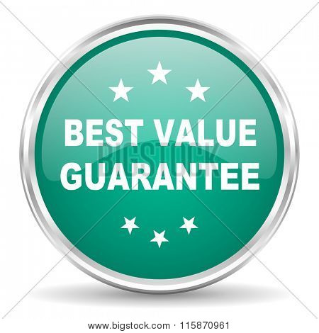 best value guarantee blue glossy circle web icon