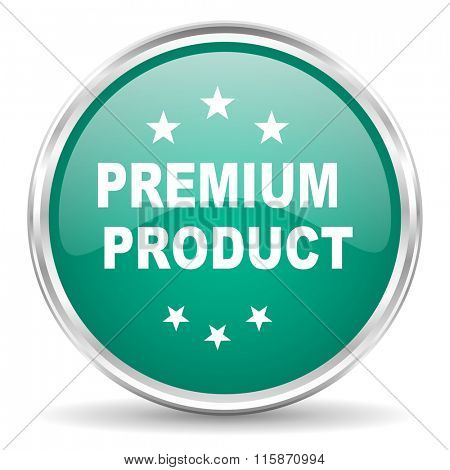 premium product blue glossy circle web icon