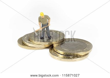 Single Worker Standing On Top Op Turkish Coins