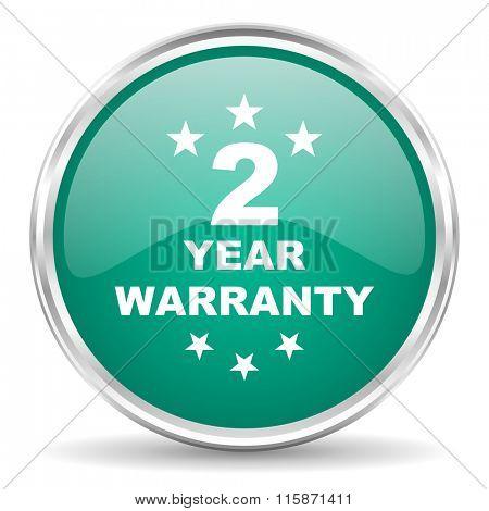 warranty guarantee 2 year blue glossy circle web icon