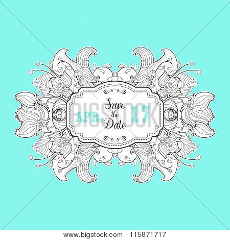 Modern Save the Date label with floral  element