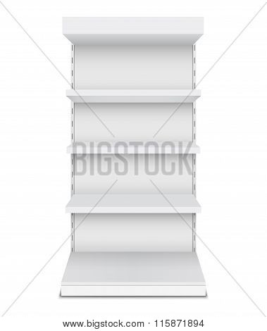 Exhibition Stand Shelves Isolated On White Background.