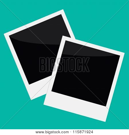 Two Instant Photos In Flat Design Style.