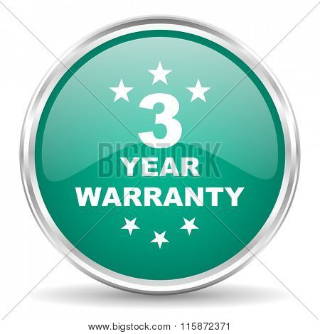 warranty guarantee 3 year blue glossy circle web icon