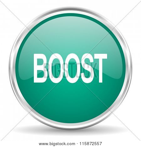 boost blue glossy circle web icon