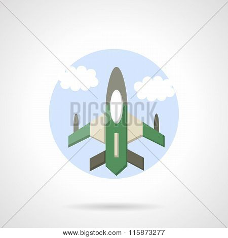 Aircraft flat round vector icon