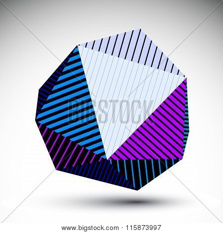 Symmetric Spherical 3D Vector Technology Illustration, Futuristic Geometric Triangular Striped Orb,