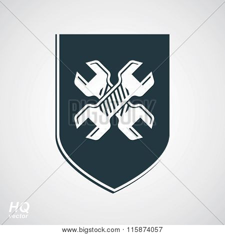 wo wrenches crossed design graphic element. Vector grayscale defense shield.