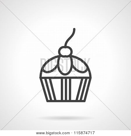 Confection black line vector icon. Berry cupcake