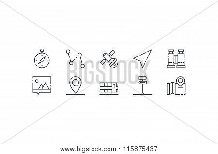 Navigation  colorless icons. Line art. Stock vector.