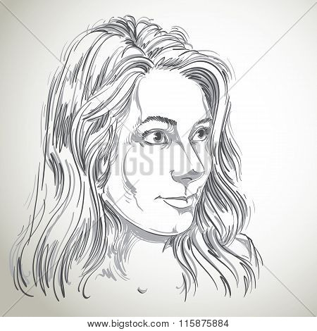Vector Portrait Of Attractive Caucasian Woman With Long Wavy Hair, Illustration Of Good-looking Fema