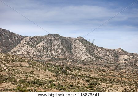 Landscape of the mountains and villages of Eastern Ethiopia near Somalia