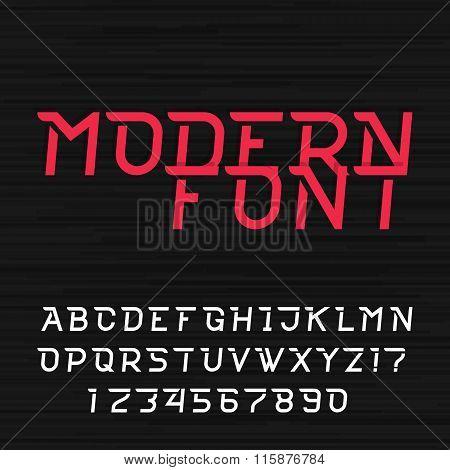 Dynamic futuristic alphabet vector font.