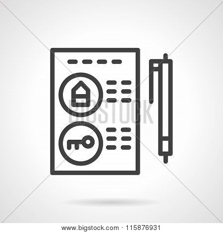 Buying a property black line vector icon