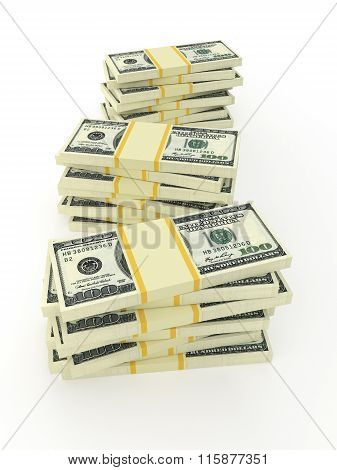 Money Stack Isolated On White. Vertical Photo