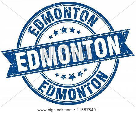Edmonton blue round grunge vintage ribbon stamp