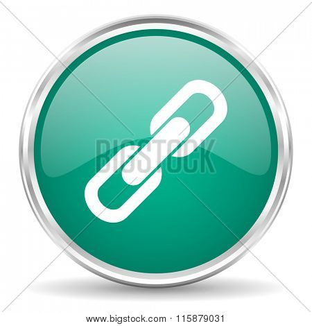 link blue glossy circle web icon