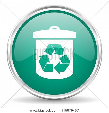recycle blue glossy circle web icon