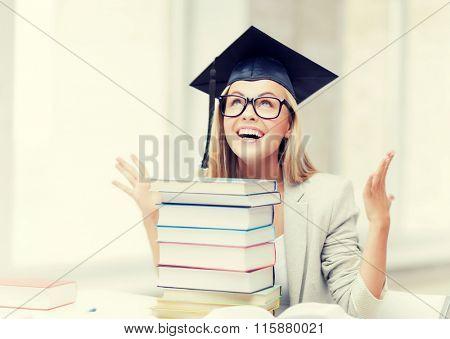 happy student in graduation cap