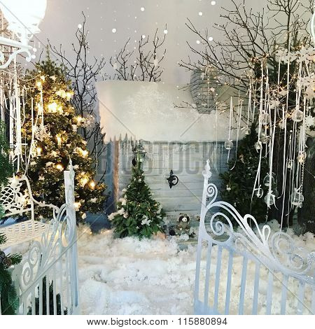 Winter fairy tale with trees