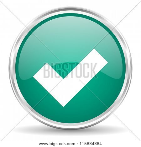accept blue glossy circle web icon