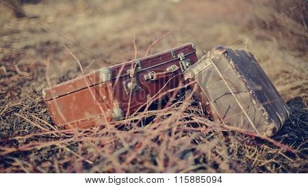 Two Old Vintage Suitcases
