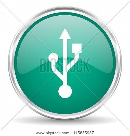usb blue glossy circle web icon