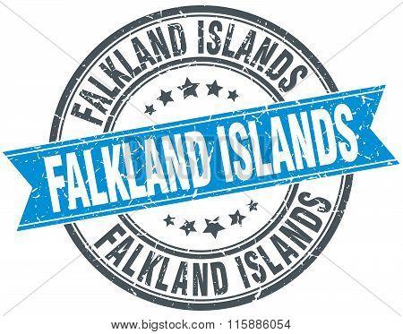 Falkland Islands blue round grunge vintage ribbon stamp