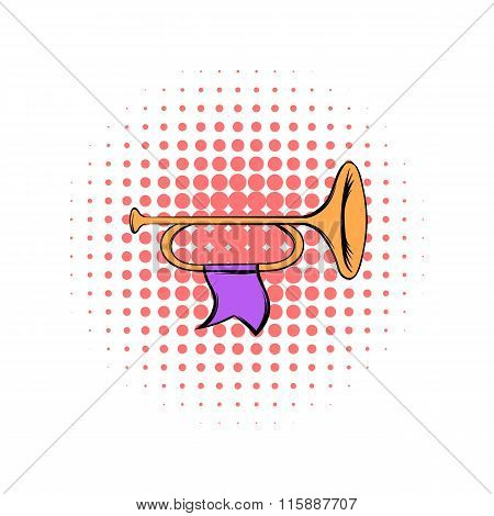 Trumpet with flag comics icon