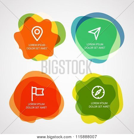 Different watercolor stamps with template text. Vector elements clip-art