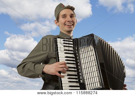 Soviet Soldier Playing The Accordion