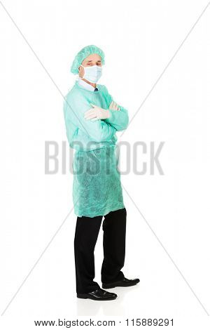 Male doctor wearing protective clothes