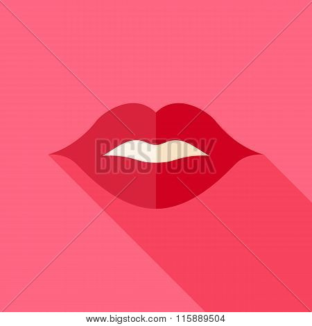 Vector Flat Design Kiss Sexy Lips Icon