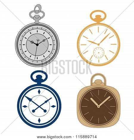 Pocket watch set isolated on white background