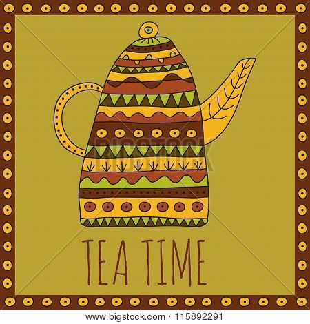 Tea time vector illustration in warm colors