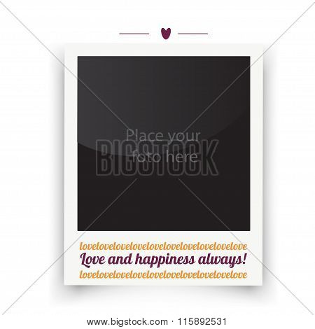 Vintage wedding frame. Template for photo of the bride and groom. Vector wedding day illustration.