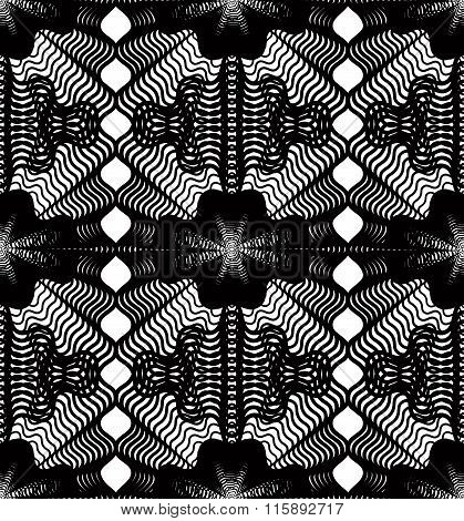 Black And White Illusive Abstract Seamless Pattern With Overlapping Shapes. Vector Symmetric Backdro
