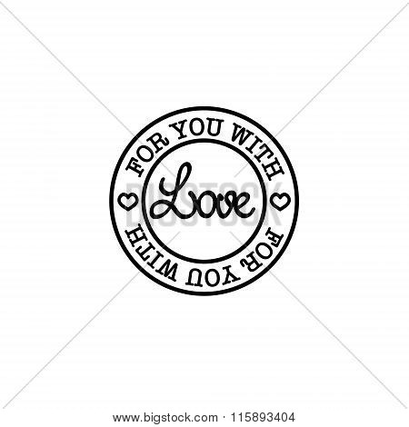 Hand-drawn for you with love vector badge