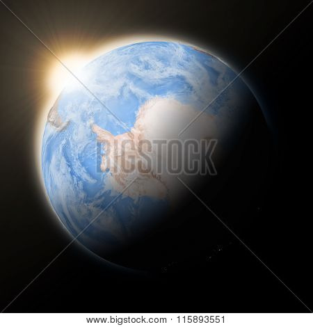 Sun Over Antarctica On Planet Earth