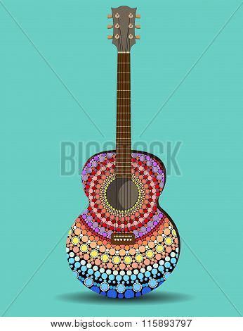 The Guitar Is Decorated With Pattern In The Style Of A Mandala
