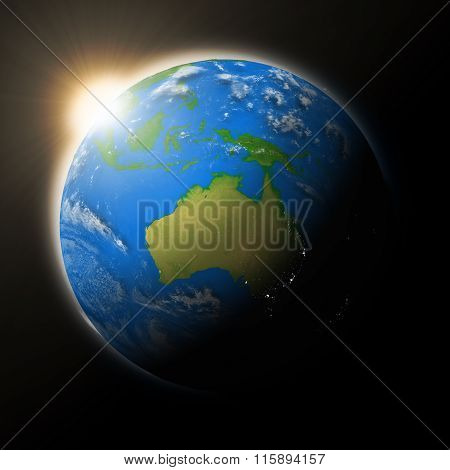 Sun Over Australia On Planet Earth