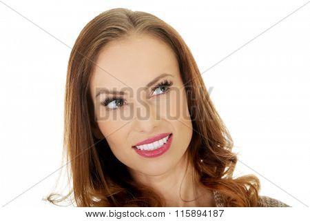 Beautiful woman looking up.